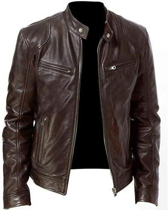 Zolimx Casual Lederjacke für Herren Männer Vintage Coole