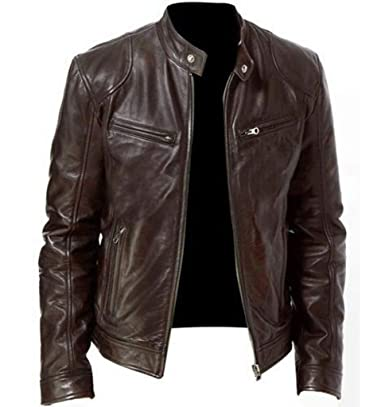 Amazon.com: Mens Bomber Faux Leather Jackets Vintage Stand ...