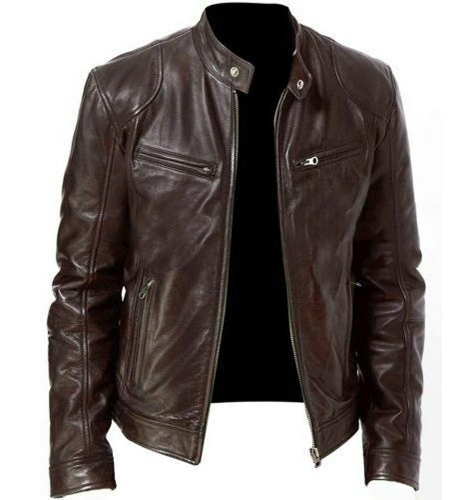 Fitfulvan Men's Vintage Cool Jacket Leather Long Sleeve Autumn Winter Stand Collar Club Coat Brown