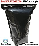 1 Pound Size Opaque BUD BAGS (100 bags) SUPERSTEALTH BLACK OPAQUE