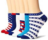 K. Bell Women's 6 Pack Novelty Crew Socks, Americana, 9-11