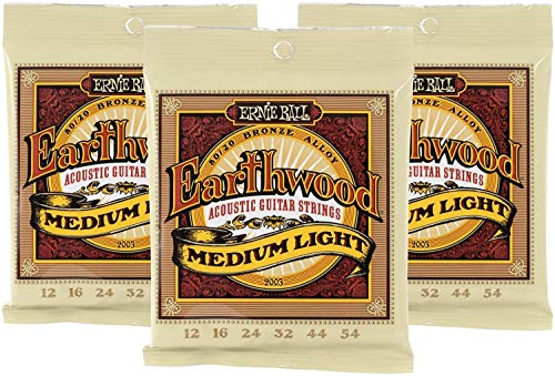 Ernie Ball Earthwood 80/20 Bronze Medium Light Acoustic Strings - 3-Pack