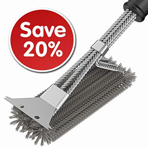 Grill Cleaner Brush - BBQ Brush - BBQ Grill Grate Cleaner Brush and Scraper - Grill Cleaning Tool - Safe Grill Accessories for Charcoal Electric Infrared Stainless Steel Gas Iron Weber with Gift Bag