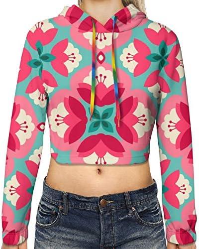 ヴィンテージ花柄女性のカジュアルな長袖カラーブロックプルオーバースウェットシャツクロップトップスポーツジムオフィススクール