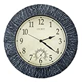 OCEST Wall Clock, 13 Inch Indoor/Outdoor Clock Waterproof Large Display Silent Non Ticking Clock Battery Operated with Thermometer Decorative Clocks for Pool Patio Bathroom Living Room Kitchen Office