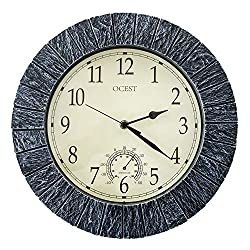OCEST Large Wall Clock, 13 Inch Indoor Outdoor Clock Waterproof with Thermometer Large Display Silent Non Ticking Battery Operated Clock Modern Decor for Pool Patio Garden Bathroom Living Room Kitchen