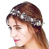 FAYBOX Bridal Vintage Crystal Pearl Hairbands Wedding Hair Accessories (Silver-tone)