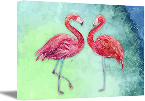 Pink Flamingo Canvas Print Flamingos Poster Bird Print Animals Print Nursery decor Flamingos wall art Bird wall art Flying Flamingos canvas