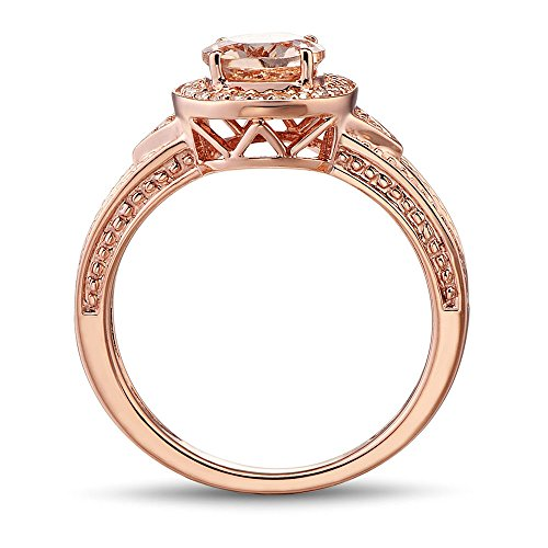 Morganite Ring with Diamond Accented Halo in 10k Rose Gold