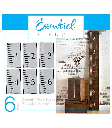 6ft Growth Chart Ruler Stencil | Ideal for Painting On Wood, DIY French Country Home Decor, Rustic Decor for Farmhouse, Fixer Upper, Joanna Gaines, Magnolia Style (DIY 6 Foot Template)
