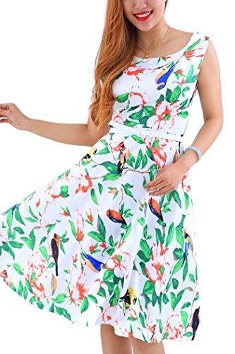 YMING Women's Plus Size Swing Dress Floral Print Midi Dress A Line Cocktail Dress Green 2XL