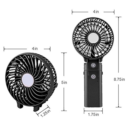 Portable Handheld Fan DOIOWN USB Mini Table Desk Personal Fan with 4000mAh Rechargeable Power Bank For Travel Outdoor Pool Car Desk (4000mAh portable charger&black) by DOIOWN (Image #2)