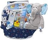 Bundle of Joy Deluxe Baby Girl or Boy Gift Basket (Medium)   21 Piece New Baby Gift Set (Blue)