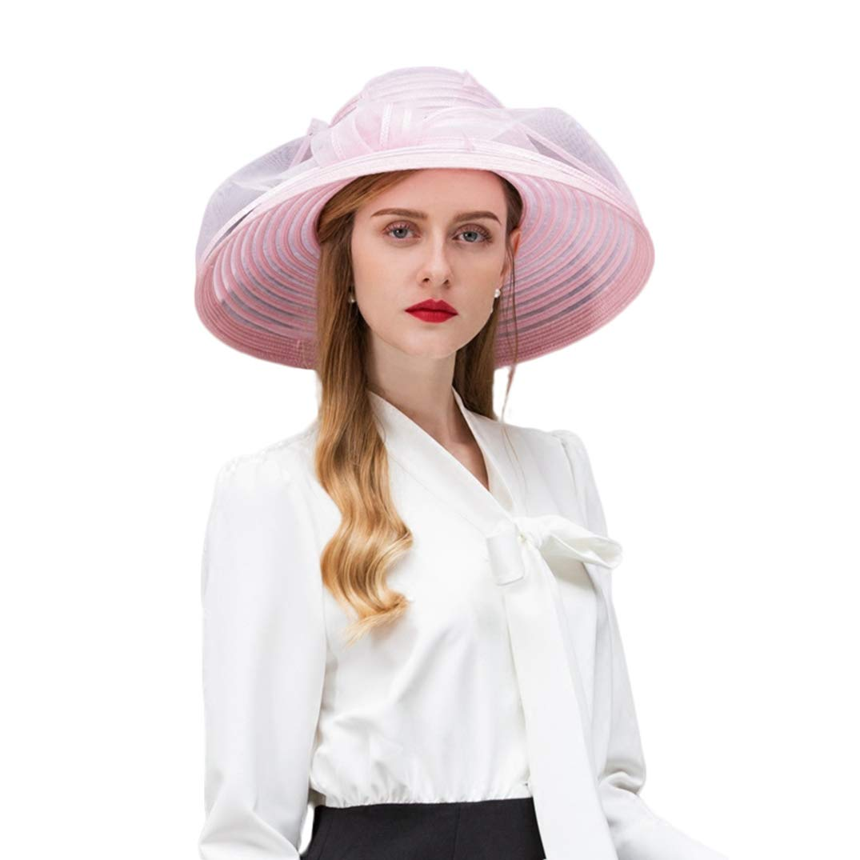 Women Kentucky Derby Fascinator Church Dress Hat Tea Party Kentucky Derby Hat Pink