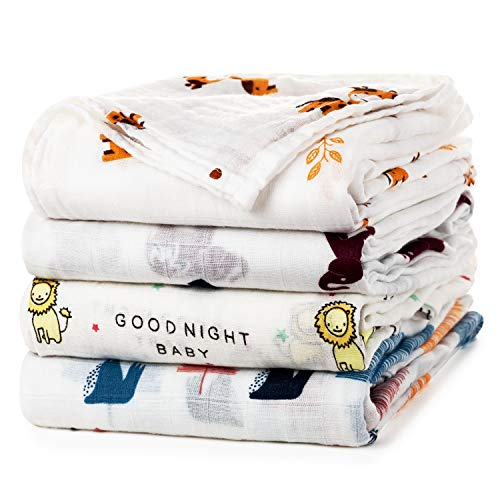 Baby Swaddle Blanket Upsimples Unisex Swaddle Wrap Soft Silky Bamboo Muslin Swaddle Blankets Neutral Receiving Blanket for Boys and Girls, Large 47 x 47 inches, Set of 4-Sika Deer/Elephant/Lion/Fox