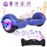 VEVELINE Hoverboard UL2272 Certified 6.5 inch Self Balancing Scooter with Colorful Flash Wheel Top LED Light, Built-in Bluetooth Speaker,Hover Board for Kids Adults Free Carry Bag(Blue)