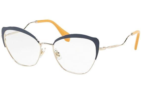 c9df54c1700f Amazon.com  Miu Miu MU54PV Eyeglasses 54-17-145 Blue Pale Gold w ...