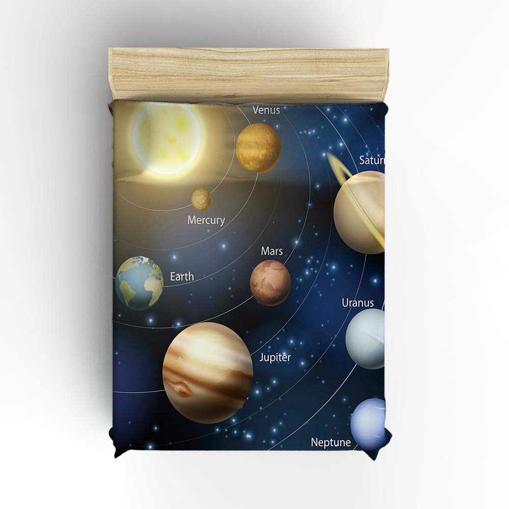 Cloud Dream Home 4 Piece Bedding Set,Solar System Orbit The Sun with Names of Planets Duvet Cover Set Quilt Bedspread for Childrens//Kids//Teens//Adults Full Size