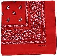 One Piece Novelty Bandanas Paisley Cotton Handkerchief (Red)