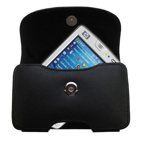Designer Gomadic Black Leather HP iPAQ hw6945 hw6925 Belt Carrying Case - Includes Optional Belt Loop and Removable Clip