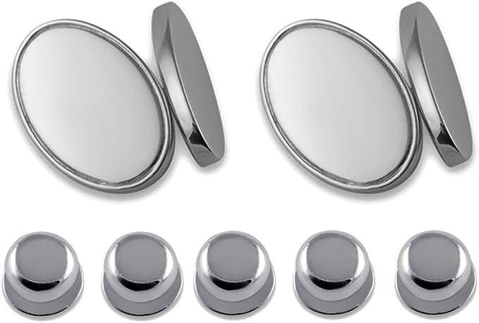 Sterling silver oval Cufflinks Shirt Dress Studs Gift Set