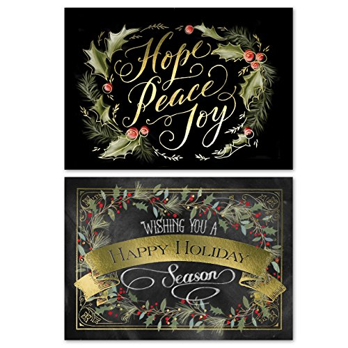 Chalkboard Holly Wreath Holiday Card Pack - Set of 36 cards - 2 designs, versed inside with envelopes Photo #4