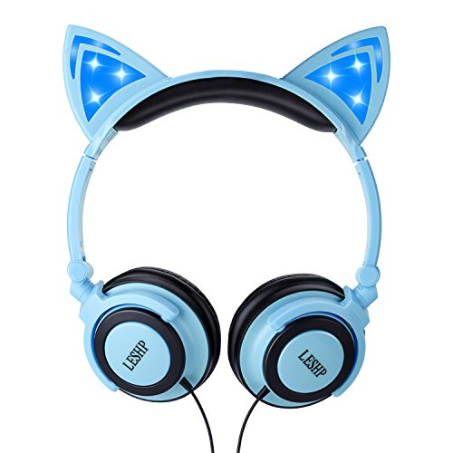 LESHP Kids Safe Headphones,Flashing Glowing Cosplay Fancy Cat 3.5MM Ear Headphones Foldable Over-Ear Gaming Headsets Earphone with LED Flash light - Blue