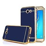 TabPow Galaxy J7 Prime 2017 Case, Electroplate Slim Glossy Finish, Drop Protection, Shiny Luxury Case For Samsung Galaxy J7 Perx / Galaxy J7 Sky Pro / Galaxy J7 V / J7 2017 -Royal Blue Gold