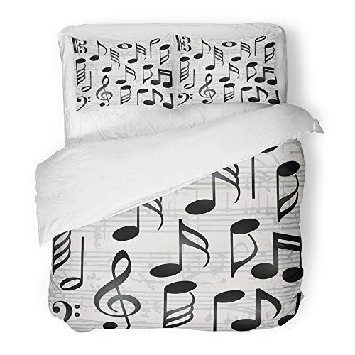Emvency Decor Duvet Cover Set King Size Black Note Collection of Music Symbols Notation Key Sign Clef Bass Song Tone 3 Piece Brushed Microfiber Fabric Print Bedding Set Cover]()