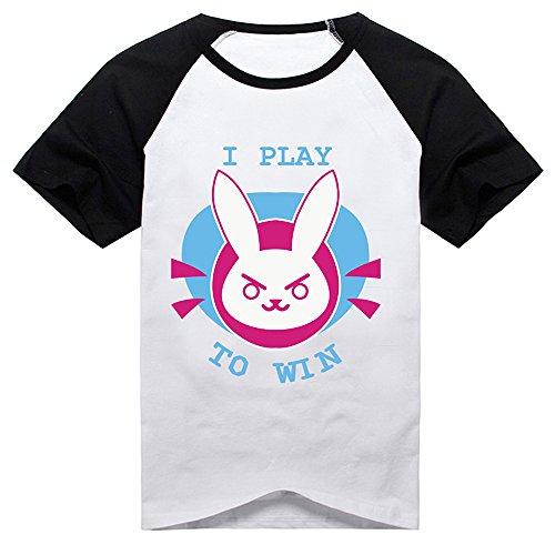 D.Va T-Shirt Black White Shirt Anime Shirt Short Sleeve Amélie Hana Cosplay Costume
