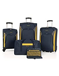 Nautica Juego de equipaje de 5 piezas – ligero para viajes de 28 pulgadas, 24 pulgadas, veliz de mano, bolsa de viaje y bolsa de aseo, Azul Marino/Amarillo, 5 piezas