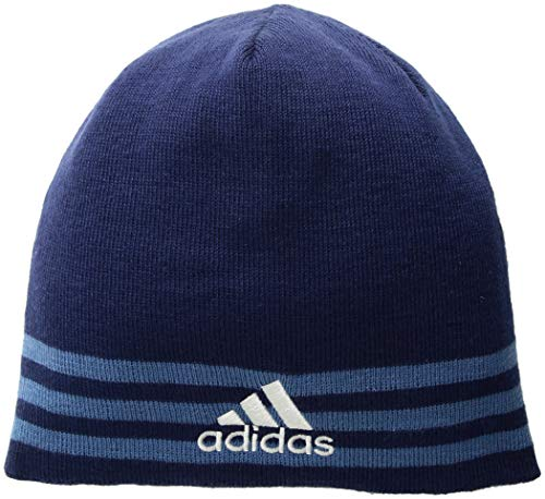 adidas Men's Eclipse Reversible Beanie, Dark Blue/Trace Royal/Clear Grey/Dark Blue, One Size