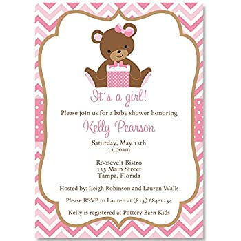 Amazon chevron teddy bear baby shower invitations teddy bear chevron teddy bear baby shower invitations girls pink 10 custom printed invites with white envelopes filmwisefo