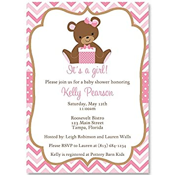 Amazon Com Chevron Teddy Bear Baby Shower Invitations Girls Pink