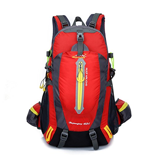 40L Hiking Daypack, Waterproof Backpack Daypack for Men Women Girls, Outdoor Backpack for Camping Fishing Hiking Trekking Traveling by MLTbRich (Red)