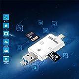 SD/TF Card reader Memory Card Adapter Lightning Card reader with Lightning USB Micro USB Trail for Ipad Ipad Mini Ipad Air Ipod Touch Iphone Android OTG device PC Mac Computer (White-1)