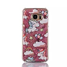 iphone 4/4S Liquid Case,Rainbow Unicorn Horse Print Flowing Liquid Floating Luxury Bling Glitter Sparkle Stars Plastic Case for Apple iphone 4/4S (Pink)