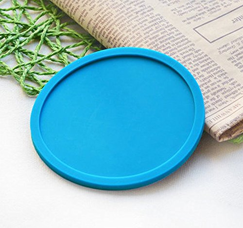 Hosaire Silicone Drink Coasters Great Grip, Easy To Clean, Protects Your Furniture - Spill Tray To Catch Condensation - For Coffee Cup, Wine Glass, Beer Bottle And All Other Beverages Blue 4 inch by Hosaire (Image #2)