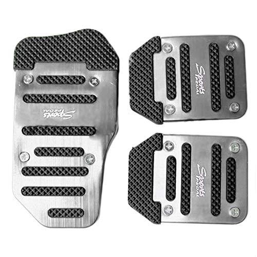 Pudincoco 3pcs Coche Veh/ículo antideslizante Aleaci/ón Pad Pedal Aluminio Foot Treadle Cover reducir la fatiga del pie seguro para la conducci/ón Plata