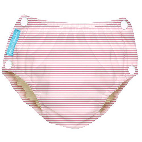 Price comparison product image Charlie Banana Reusable Easy Snaps Swim Diaper, Pencil Stripes Pink, Large