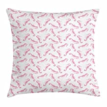 Sea Horse Throw Pillow Cushion Cover, Tropical High Seas Inspired Pattern Iconic Creature with Curly Tail in Pink, Decorative Square Accent Pillow Case, 18 X 18 Inches, Pale Pink White
