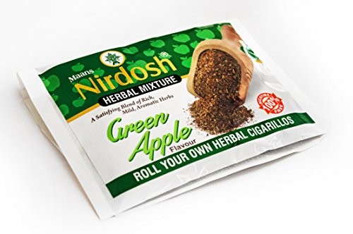 NIRDOSH Herbal Smoking Mixture Green Apple Flavor 100% Nicotine & Tobacco Free - 1 Pack (1.75oz) RYO