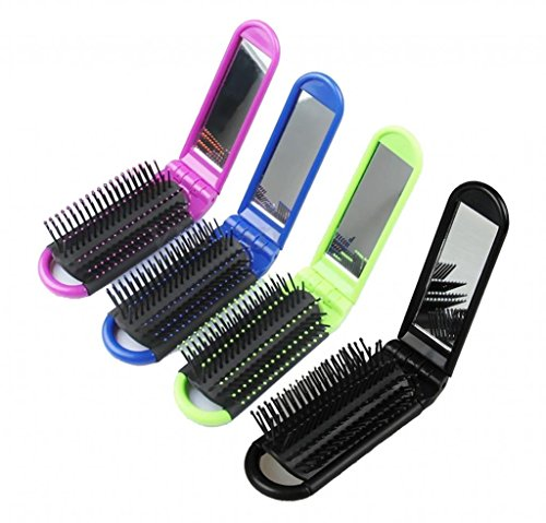 LOUISE MAELYS 4pcs Colorful Portable Folding Hair Brush with Mirror Compact Pocket Hair Comb for Travel Gift Idea