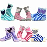 Naartjie Kids Girls Stripes Fashion Cotton Short Crew 6 Pair Pack (18-24M, Stripes and Heart)