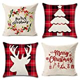 Christmas Pillow Covers 4 Pack Print Snowman,Christmas Tree,Christmas Deer, Merry Christmas Decorative Sofa Throw Pillow Case Cushion Covers 18 X 18 Inch,Cotton Linen