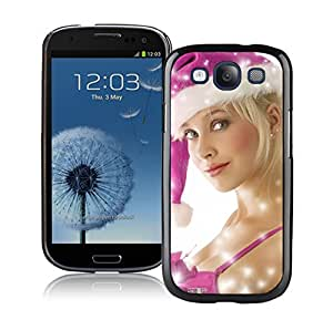 S3 Case,Christmas Pink Hat Girl Silicone Black Samsung Galaxy S3 Case,S3 I9300 Protective Case