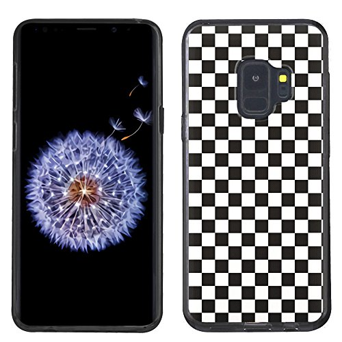 Checkers Case Protector (Slim-Fit Case for Samsung Galaxy S9, One Tough Shield Anti-Scratch TPU (Black Bezel) Protector Phone Case - Checker B/W)