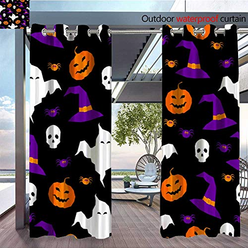 QianHe Dance Outdoor Indoor Curtain - Happy-Halloween-Abstract-Seamless-Pattern-Background-Abstract-Halloween-Pattern-for-Design-Card-Party-Invitation-Poster-Album-menu-t-Shirt-Bag-Print-etc-3.jpg W