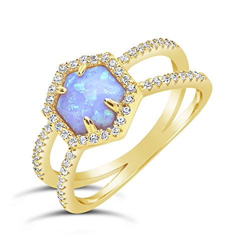 - Sterling Forever - Gold Vermeil, Four-Prong Set Created Opal Double Band Crisscross Ring with Pave White CZ Stones (in Multiple Colors) (Blue, 7)