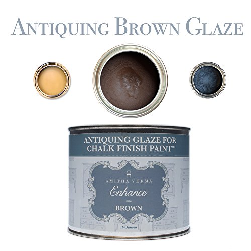 Antique Distressed Black Wood (Amitha Verma Antique Glaze Coat Sealing Wax & Distressed Wood Finish For Chalk Finish Paint, Furniture Lacquer For Kitchen Cabinets, Fittings & Painted Surfaces, 16 oz, Brown)